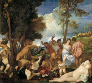 La bacanal de los andrios Tiziano Vecellio di Gregorio. Museo Nacional del Prado